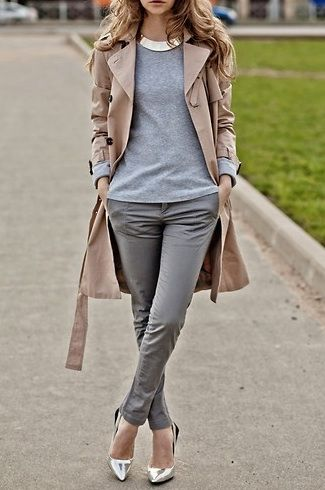 Street style tan trench coat with grey pants & blue sweater &