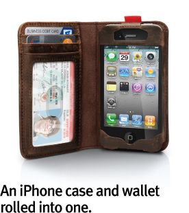 Wallets and phones go hand in hand. You rarely leave home without the two of them. Now you can carry both in one BookBook made exclusively for iPhone 4 and iPhone 4S. This little book has a convenient ID window and slots for your debit/credit cards, reward cards and cash. Instead of grabbing your wallet, phone and keys when you walk out the door, simply grab BookBook and your keys.