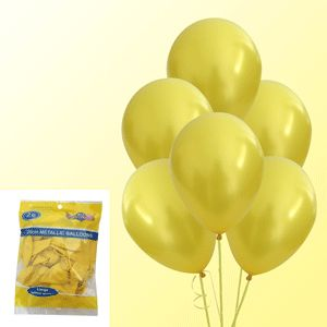 Balloon Metallic Yellow (Pack of 20) | Go Party Supplies
