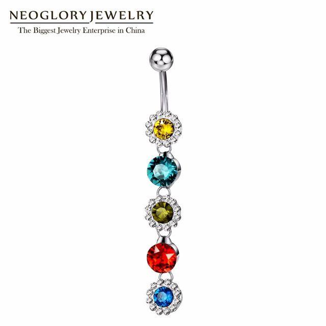 Neoglory горный хрусталь пирсинг пупка Кольца для Для женщин Для тела пирсинг Красочные Сияющий Цветок пупка Модные украшения 2017 MS