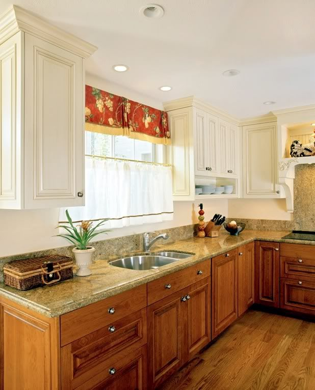 Lovely Painting Kitchen Cabinets Two Different Colors
