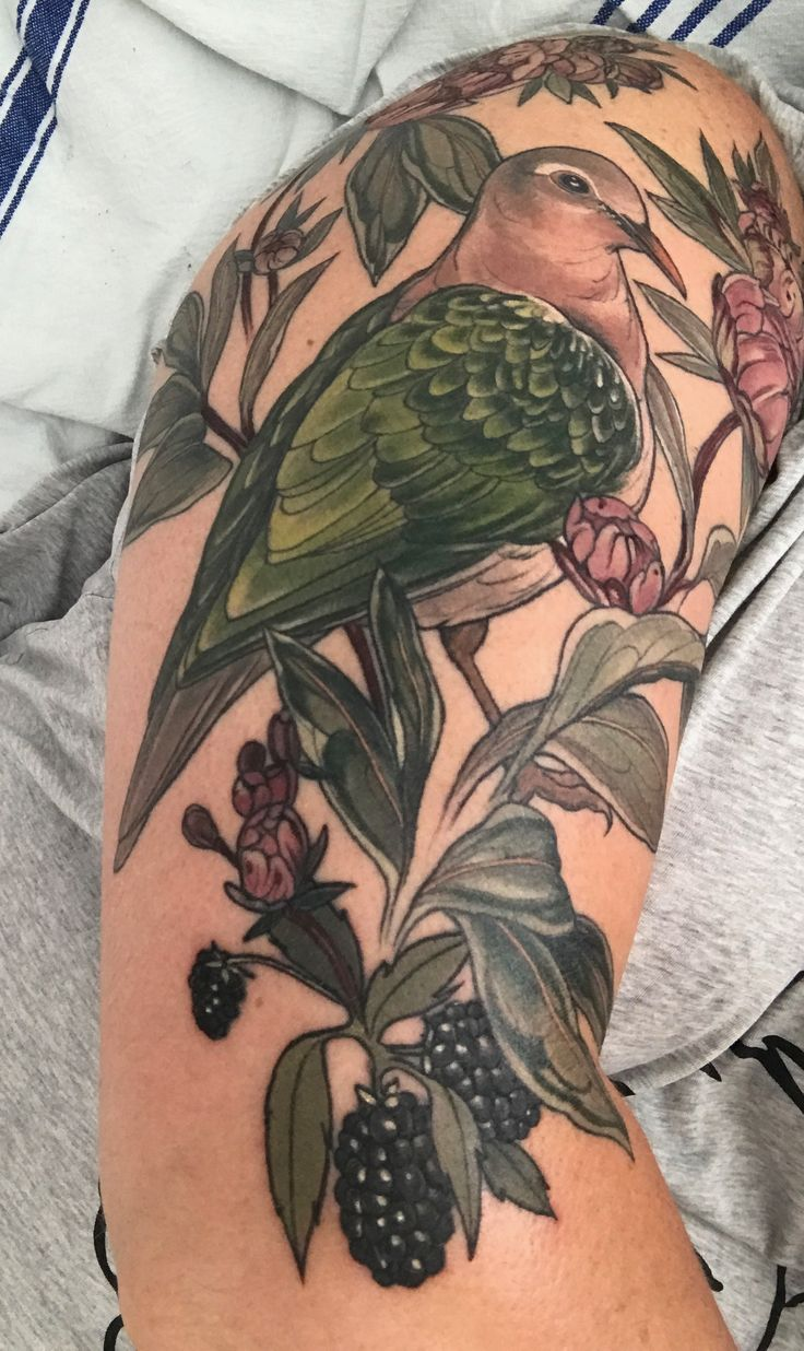 Third and final stage - the pink and black bits. By Sophia Baughan. Emerald Dove, Peonies and Blackberries. Jan 2017.