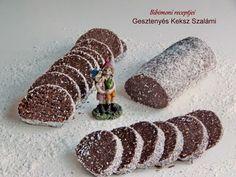 Ha valami édesre vágysz, akkor készíts gesztenyés keksz szalámit !Amilyen gyorsan elkészül, olyan gyorsan el is tűnik. Hozzávalók : 50 dkg darált háztartási keksz25 dkg porcukor25 dkg gesztenyepü