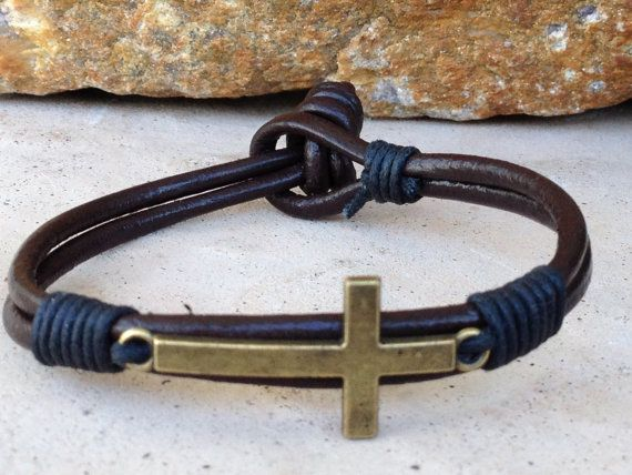 FREE SHIPPING-Mens Leather Bracelet, Brown Leather Bracelet, Cord Bracelet, Double Strap Bracelet, Bronze Cross Bracelet,Men Metal Bracelet
