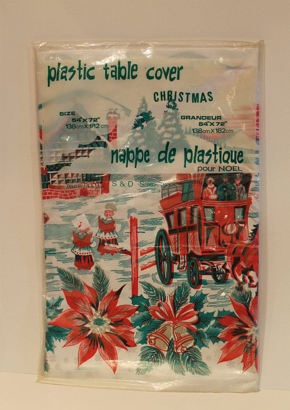Vintage Plastic Christmas Tablecloth  Unused Unopened Plastic