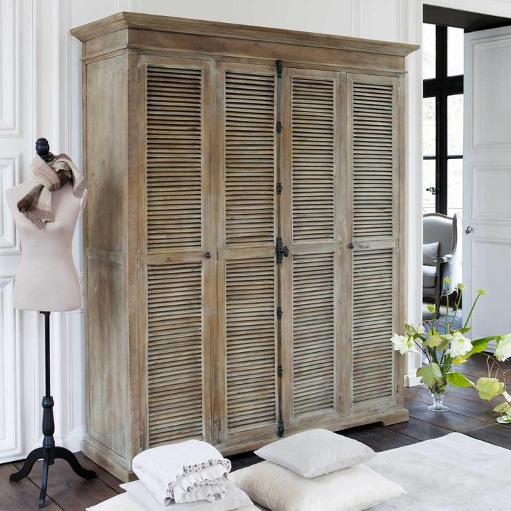 Limed Mango Wardrobe with Cremone Bolt Shutter Doors