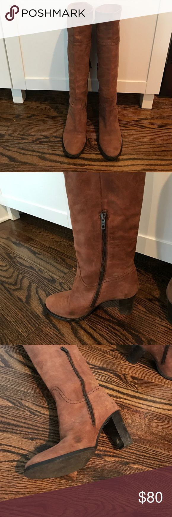 J Crew Leather boots Beautiful tall brown leather J Crew boots. Made in Italy. Some scratching and dark spots on leather from wear but normal and still look very good! Heels and soles are in great condition. J. Crew Shoes Heeled Boots