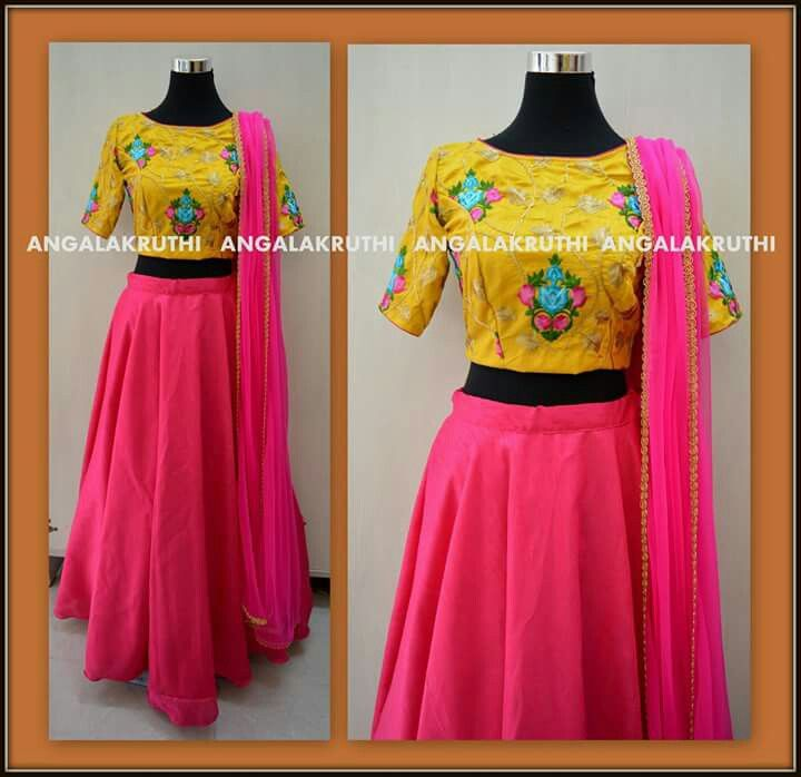 yellow and pink lehenga design by Angalakruthi Ladies and kids designer boutique in bangalore