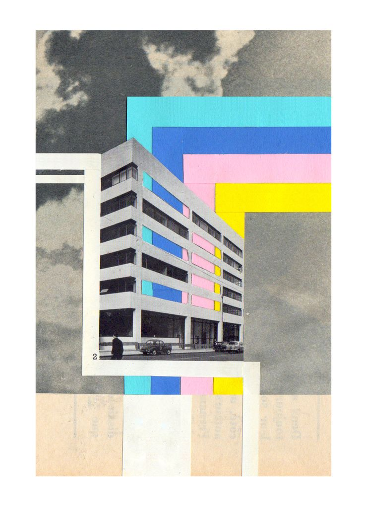"mango-popsicle:  UK: COLLAGE: SOPHIELIZA Artist statement: ""My work is kind of like a jigsaw puzzle, but one that you get without the image on the box. My influences are: grid like structures, the work of Julian House, tower blocks, Le Corbusier, Bauhaus, brutalist architecture and lots of musical inspirations (too many to mention!)."""
