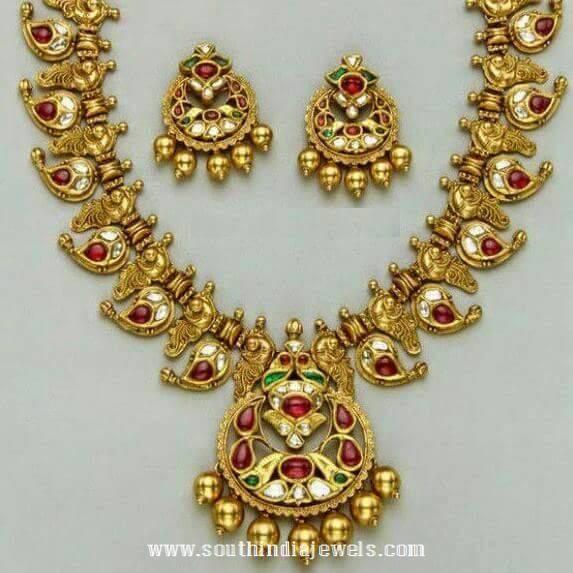 Gold Antique Ruby Mango Mala Designs