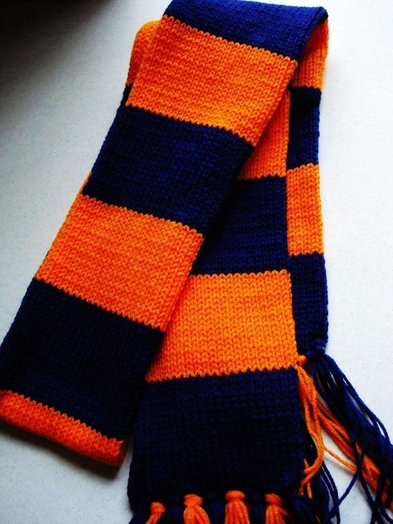 Knit Striped Scarf Pattern : Blue and Orange Striped Scarf #stripe #knit #scarf www.loveitsomuch.com Fas...