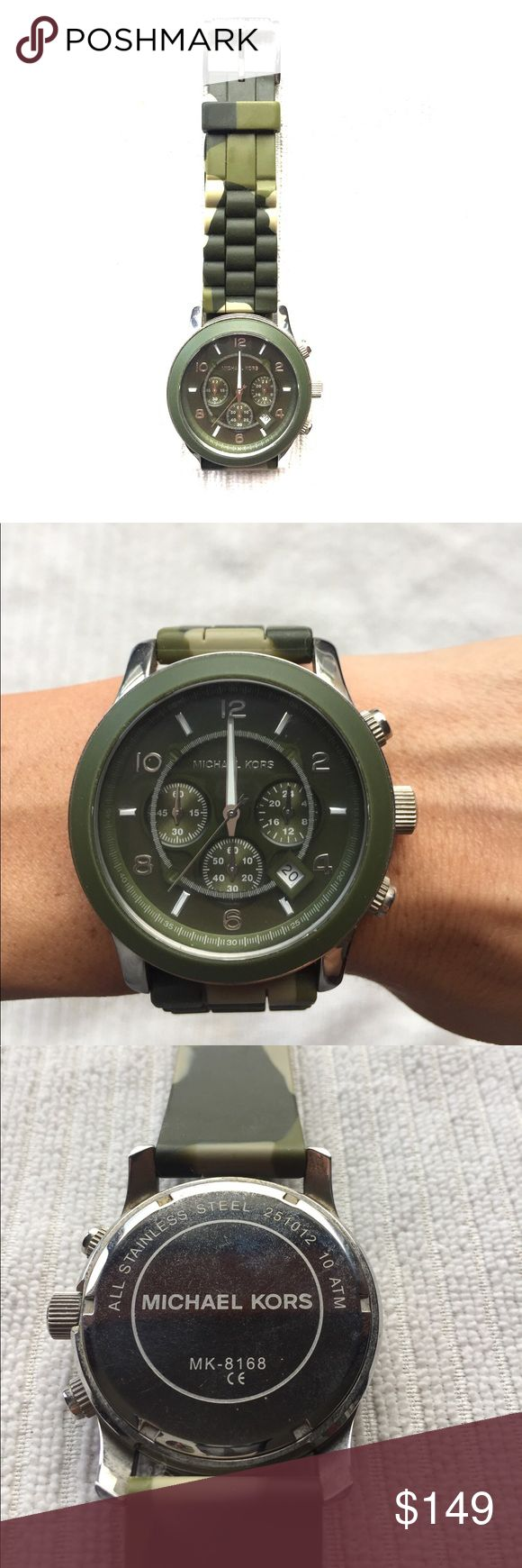 Michael Kors Men's chronograph watch Green camo men's watch. Perfect condition minus needing a new battery. Barely worn. Comfortable silicone strap. Michael Kors Accessories Watches