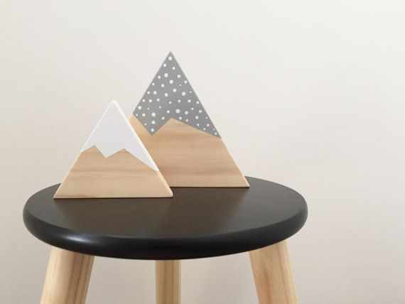 Wooden mountain sets of two  nursery decor / kids room decor