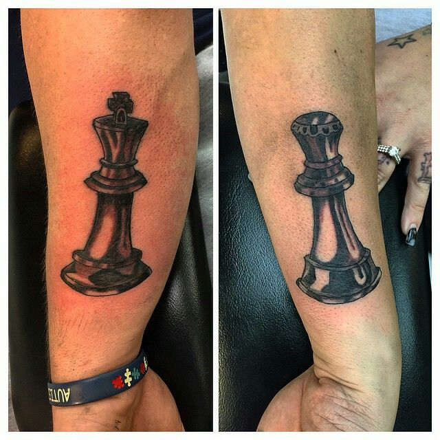 Matching  couple tattoos;chess pieces