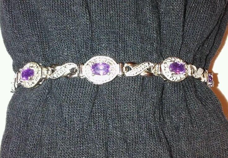 "Vintage Stamped 925 DL Purple Amethyst 7"" Tennis Bracelet-Double Safety Latch | Jewelry & Watches, Fashion Jewelry, Bracelets | eBay!"