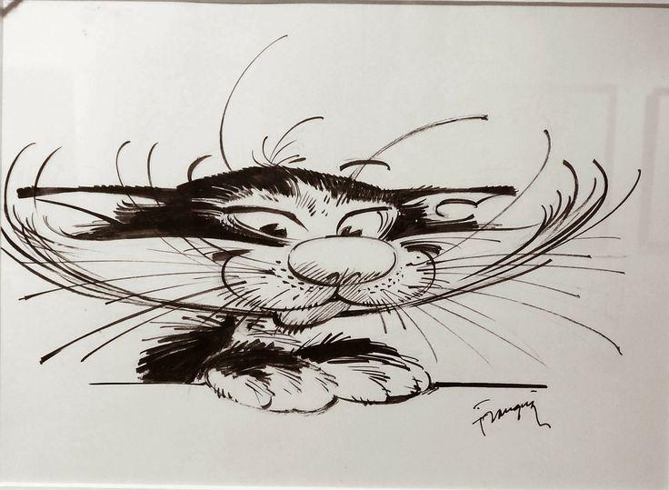 """Illustration """"Le Chat"""" par André Franquin original en vente à la galerie Glénat"""