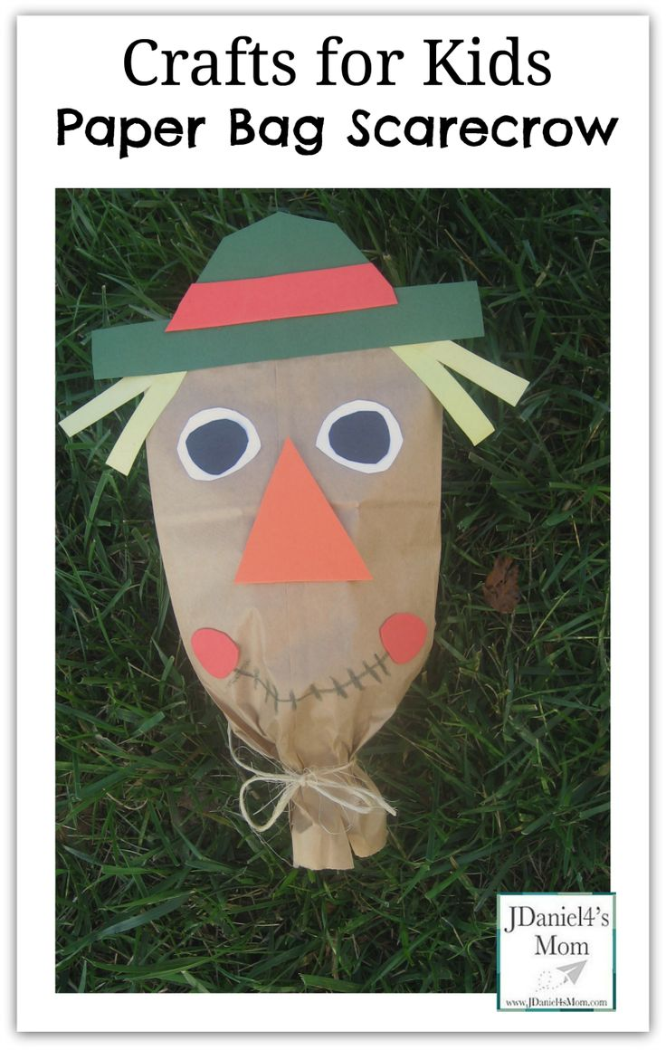 Crafts for Kids- Paper Bag Scarecrow Created After Reading Barn Dance.