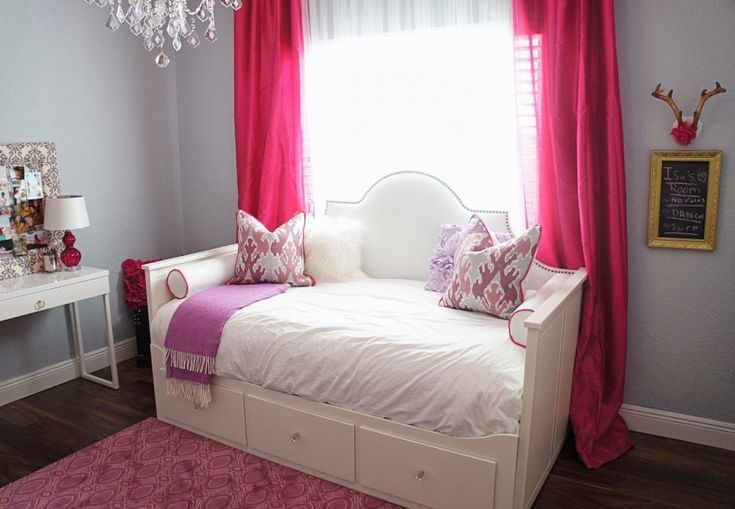 Bedroom Furniture. Modern Ikea Hemnes Bed Frame Design Ideas. Excellent White Twin Daybed With Storage And Padded Headboard  By Ikea With White Mattress Cover And Comfy Mattress Plus White Bolster Together With Purple Blanket And Also Modern Console Table Plus Contemporary Glass Table Lamp With Linen Shade Also Pink Curtain And Also Hardwood Flooring And Pink Rug With Geometric Pattern. Ikea Hemnes Bed Frame