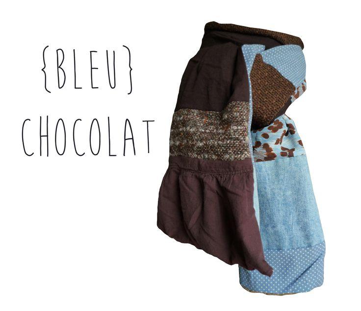 Echarpe Pure Laine Coton automne hiver chocolat bleu pois léopard Modèle Unique : Echarpe, foulard, cravate par lefil