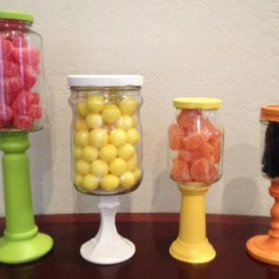 DIY Candlestick Candy Jars   To Make Use Candlesticks With Jars And Fill.or  Use In Kitchen, Office Or Bathroom.