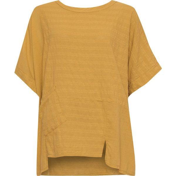 WearAll Plus Size Linen Oversized Batwing Hanky Hem Top (31 CAD) ❤ liked on Polyvore featuring tops, t-shirts, gold, front pocket t shirt, oversized pocket tee, womens plus tops, round neck t shirt and pocket tees