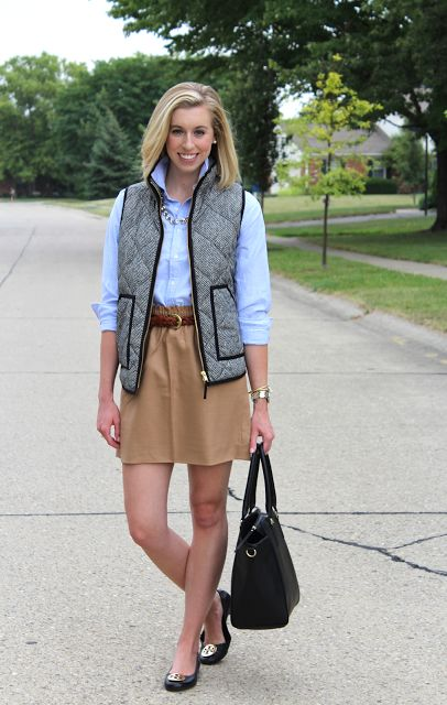 Classically preppy for fall!  Camel skirt, blue button down, herringbone vest, and Tory Burch Flats