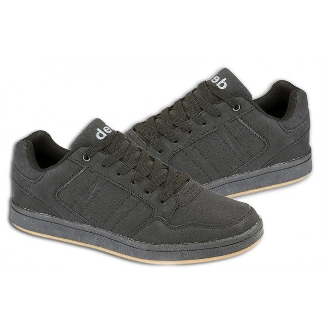 Mens Nubuck Trainers Skate Style 6 Eye Lace-Up in Black Colour Sizes UK 4 - 12