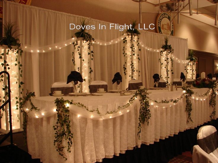 Head Table Lighting See More Wedding Column Decoration