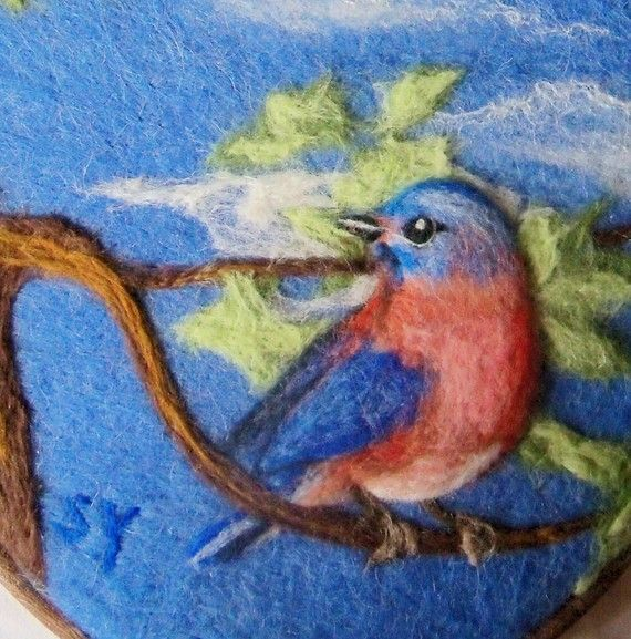 Needle Felted Wool Painting of Bluebird in a Tree  Needlefelt