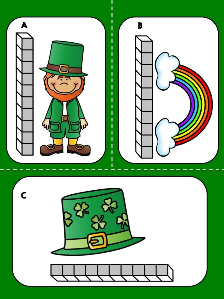 *** FREEBIE *** Measure St. Patrick's Day objects and compare their height or length.