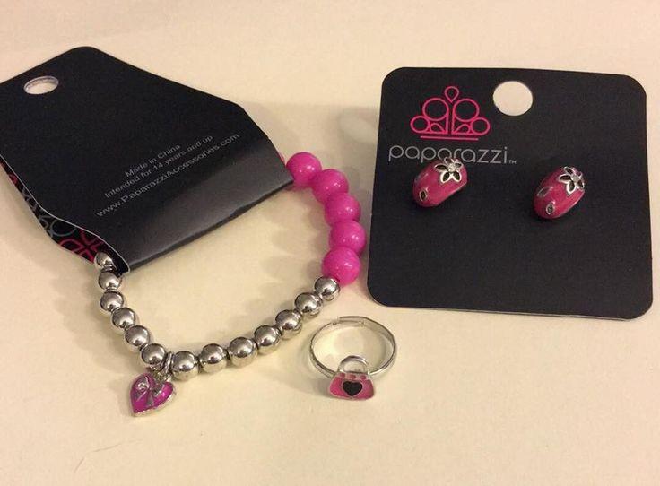 Kid's Pink Bracelet, Ring, and Earring set