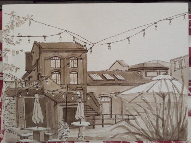 "The finished architecture painting. Done with India ink, 9"" x 12"". Done for the Opus Outdoor Painting Challenge."