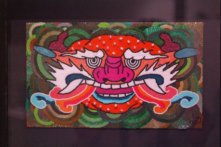 The Korean Temple dragon was on display at the BBAC in Birmingham, MI  done in bead embroidery