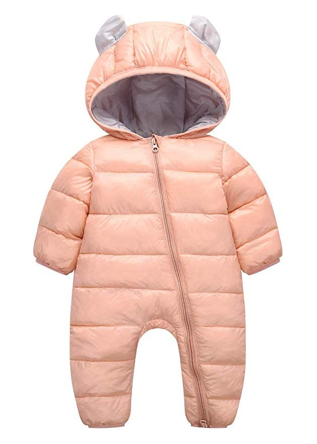 Happy Cherry Infant Baby Romper Down Onesies Thick Boys Girls Winter Coat Soft Puffer Outerwear Sleeper For 9 12 M Girls Winter Coats Hoodie Jumpsuit Snow Suit