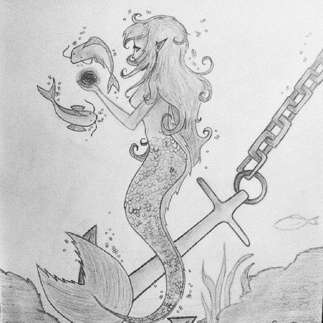 I'm Pleased with my #drawing today, still need some finishing touches tho :) #mermaid #siren #work #fantasy #water #creature