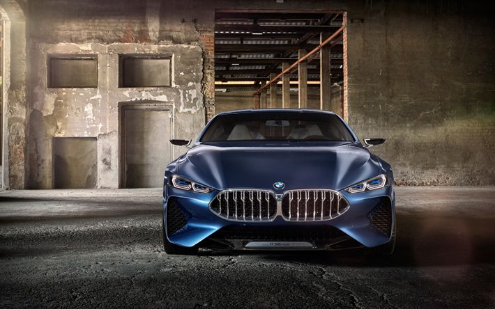 Download imagens 4k, BMW 8-Série, 2017 carros, carros alemães, BMW 8, supercarros, BMW