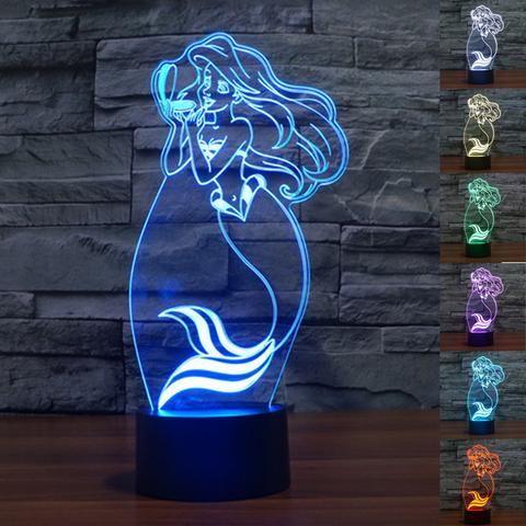 Little Mermaid 3D Illusion LED Lamp