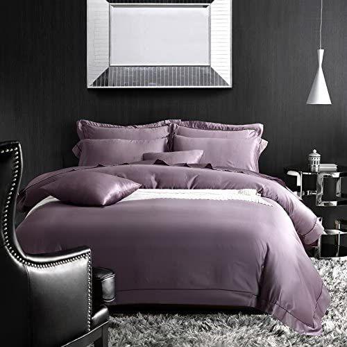 Bb Er Simple Solid Ice Silk Comfortable Smooth Bedding Four Piece Suit Double Bed Quilt Cover Pillowcas Duvet Cover Sets Purple Duvet Cover Double Duvet Covers