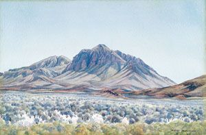 Detail: Albert Namatjira Haasts Bluff c.1956 watercolour over pencil on paper National Gallery of Australia
