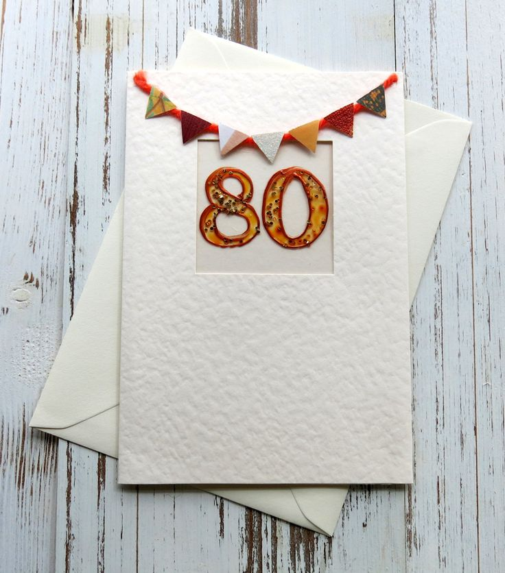 Greeting card - birthday card - 80th birthday card - blank card  - hand painted - hand crafted - handmade -  celebration card - uk seller by itsaMessyNest on Etsy