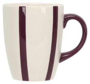 Mok met paarse streep groot    Deze aardewerk mok maakt het gezellig in de keuken en op tafel. De inhoud van deze mok is 0,32 liter en hierdoor ook zeer geschikt voor thee of chocolademelk. Dit kleurige mokje is geschikt voor de vaatwasmachine en magnetron.  € 1.99