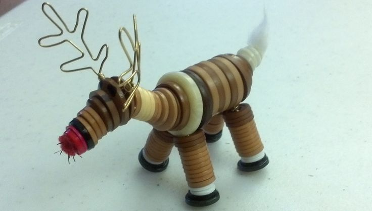 reindeer button ornament