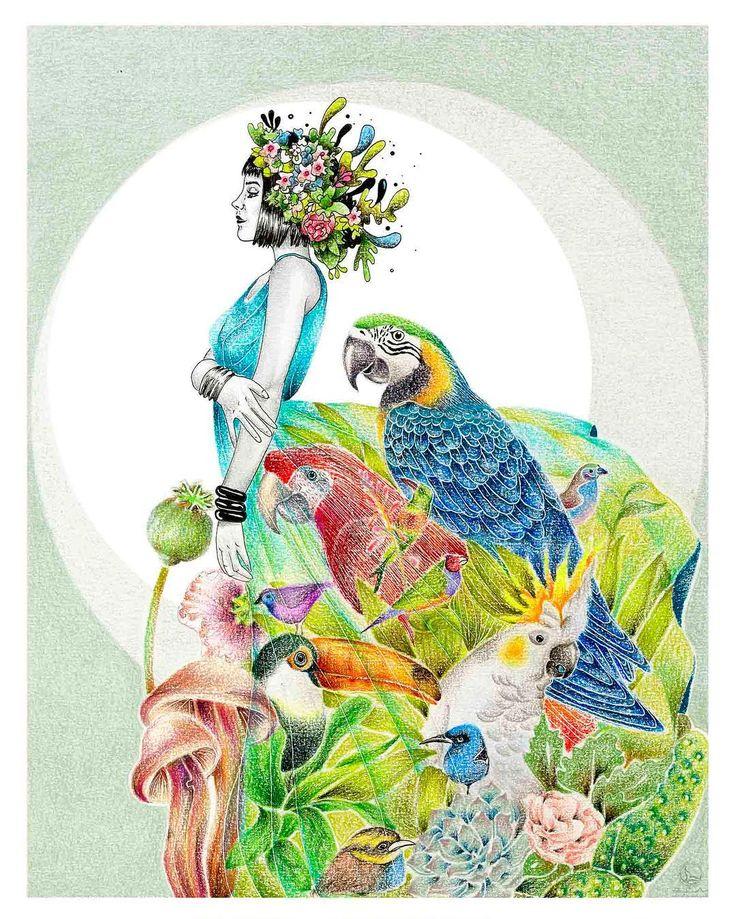 Parte de un todo... dos ilustraciones de nuestra relación con el entorno 😌❤️☘️🍂 // #illustration #coloring #prismacolor #drawing #girlillustration #nature #animals #flowers #sketch #ilustracion #dibujo #pintura #coloreando #colores #colors #rapidograph #rapidografo