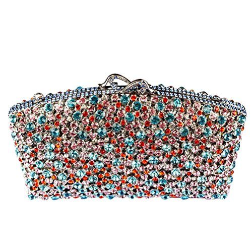 Donalworld Women's Bling embeded Evening Purse Cocktail Crystal Blue Clutch Bags