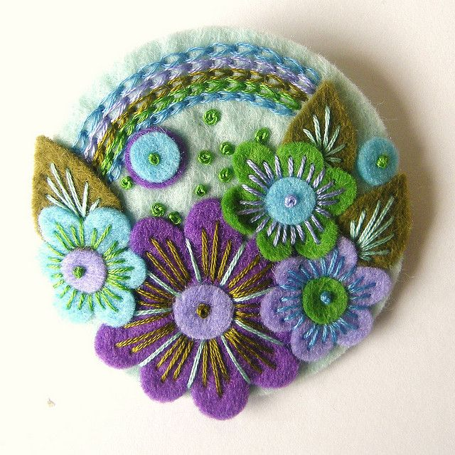 Over the Rainbow Felt Brooch---greens and purples