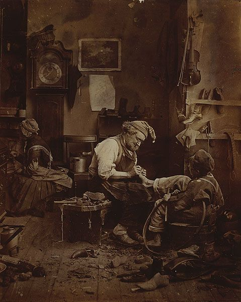 """Adam Diston was born in Edinburgh around 1827 """"The Broken Toe"""" (but it looks like a shoemaker, sizing the boy's foot, to me)"""