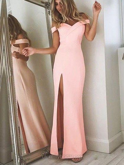 55134beb5 Satin Chiffon Off-the-shoulder Sheath Column Floor-length Split Front Prom  Dresses  UKM020104897
