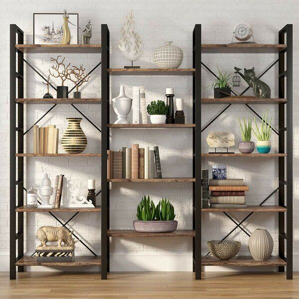 Imani Rustic Triple Etagere Bookcase In 2020 Home Office Design