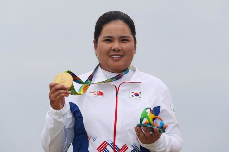 RIO DE JANEIRO, BRAZIL - AUGUST 20:  Gold medalist, Inbee Park of Korea poses on the podium during the medal ceremony for Women's Golf on Day 15 of the Rio 2016 Olympic Games at the Olympic Golf Course on August 20, 2016 in Rio de Janeiro, Brazil.  (Photo by Scott Halleran/Getty Images)