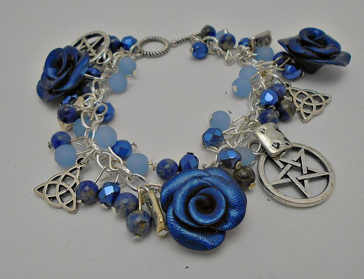 Indigo pentacle triquetra charm bracelet  wiccan jewellery, pagan, metaphysical, witchcraft jewellery,wiccan jewelry by CrysalMoonGiftss on Etsy